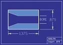 """Boron Carbide Sandblasting Nozzle Insert: INSERT 7/8"""" OD - STRAIGHT BORE"""