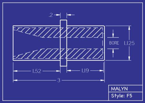 """Boron Carbide Sandblasting Nozzle:  F5 Straight Bore Mid Flange, OAL: 3.0"""" You Pick Bore Size"""
