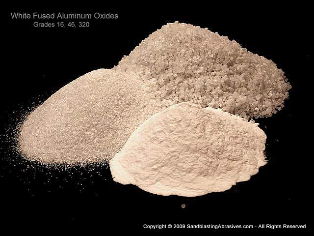 Aluminum Oxide White Fused Sandblasting Abrasive, Fine Grades 280 through 1200, 25lb box or more